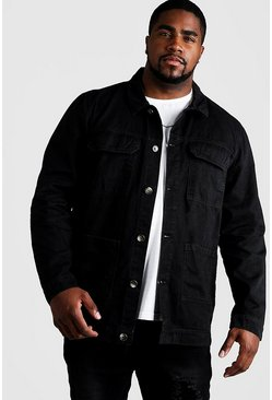 Black Big & Tall Cotton Twill Utility Overshirt
