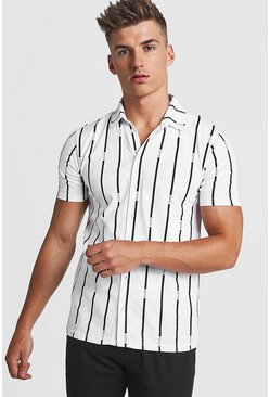 Herr White Stripe MAN Short Sleeve Shirt
