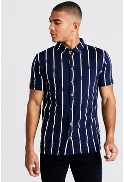 Mens Navy Stripe MAN Short Sleeve Shirt