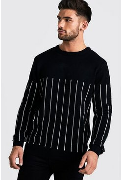Mens Black Long Sleeve Knitted Jumper With Contrast Pinstripe