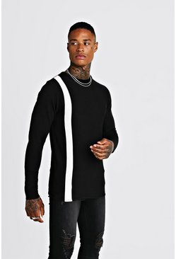 Herr Black Long Sleeve Knitted Jumper With Contrast Stripe