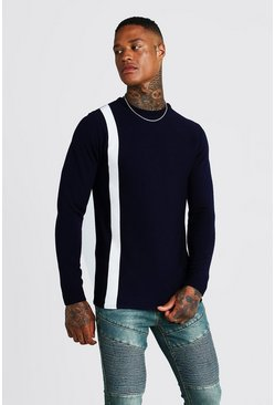 Herr Navy Long Sleeve Knitted Jumper With Contrast Stripe