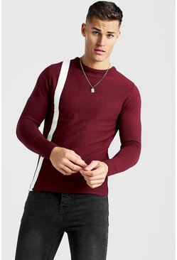 Burgundy Long Sleeve Knitted Jumper With Contrast Stripe