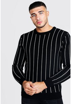 Herr Black Long Sleeve Pinstripe Knitted Jumper