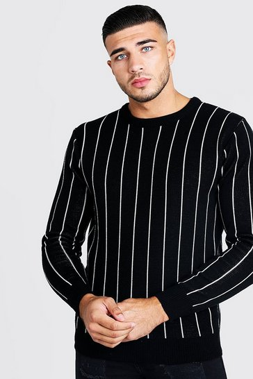 Mens Black Long Sleeve Pinstripe Knitted Jumper