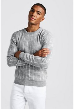 Herr Light grey Long Sleeve Pinstripe Knitted Jumper
