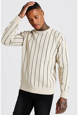 Herr Taupe Long Sleeve Pinstripe Knitted Jumper