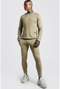 Herr Camel Long Sleeve Knitted Tracksuit With Tipping