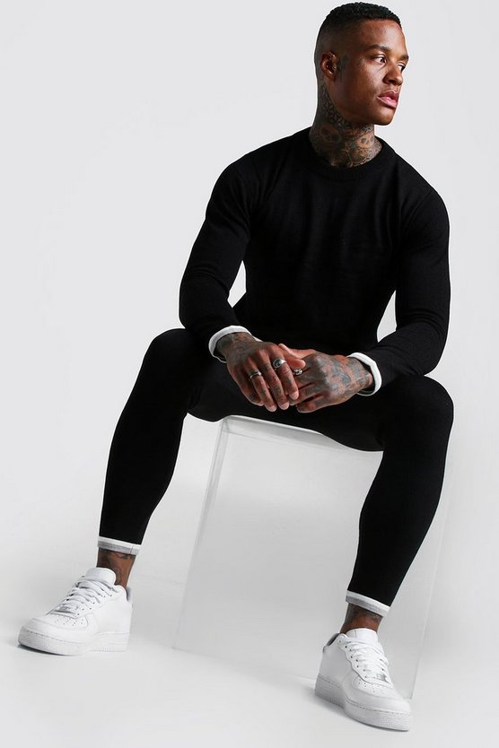 Black Long Sleeve Knitted Tracksuit With Tipping