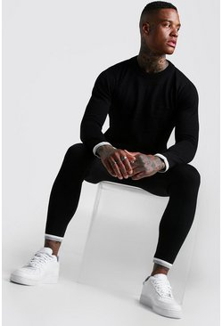 Herr Black Long Sleeve Knitted Tracksuit With Tipping