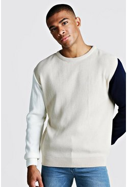Mens Stone Long Sleeve Colour Block Jumper In Plain Knit