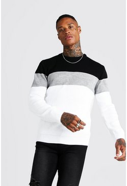 White Muscle Fit Long Sleeve Colour Block Knitted Jumper