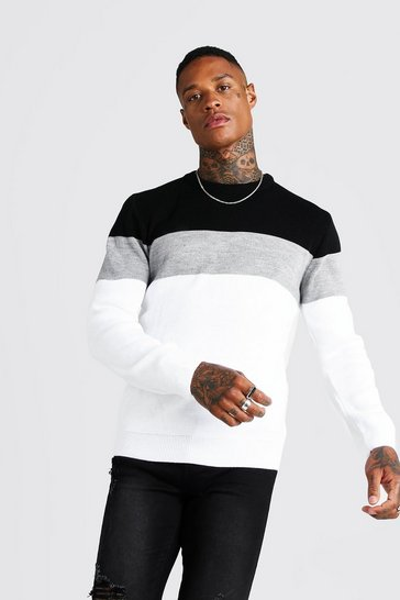 Mens White Muscle Fit Long Sleeve Colour Block Knitted Jumper