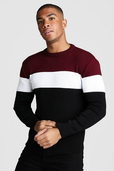 Mens Burgundy Muscle Fit Long Sleeve Block Knitted Jumper