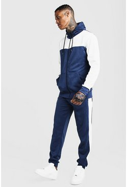 Mens Navy Tricot Colour Block Zip Through Tracksuit