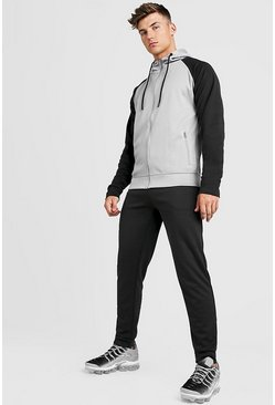 Mens Black Tricot Zip Hooded Tracksuit With Contrast Sleeves