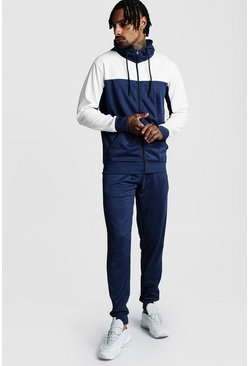Mens Navy Tricot Zip Hooded Tracksuit With Contrast Sleeves