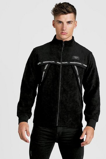 Mens Black MAN Official Zip Through Funnel Sweat In Borg