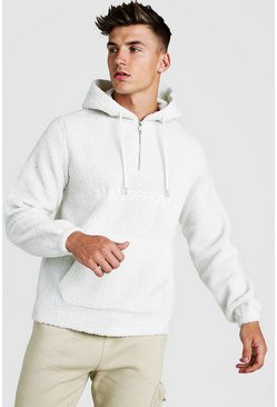 Ecru MAN Official Borg 1/4 Zip Over The Head Hoodie
