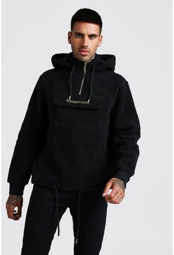 Herr Black MAN Official Borg 1/4 Zip Over The Head Hoodie