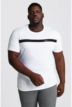 White Big And Tall MAN Signature Colour Block T-Shirt