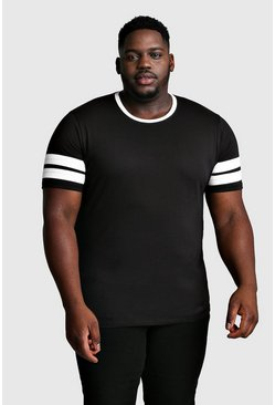 T-shirt Big and Tall con maniche a blocchi di colore, Nero