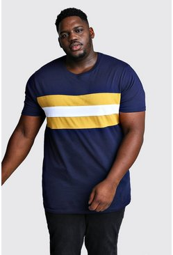 Big & Tall Longline T-Shirt im Colorblock-Design, Marineblau, Herren