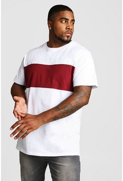 Mens White Big And Tall Longline Colour Block T-Shirt
