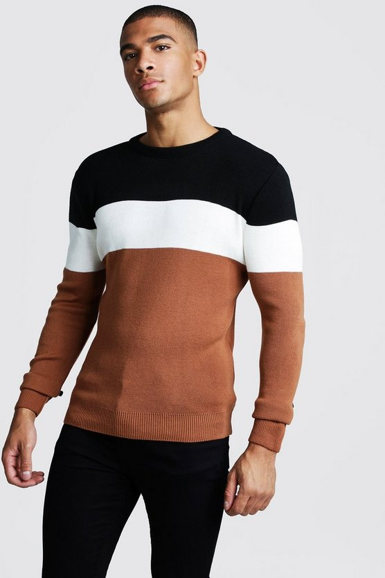 Muscle Fit Ls Colour Block Knitted Jumper by Boohoo