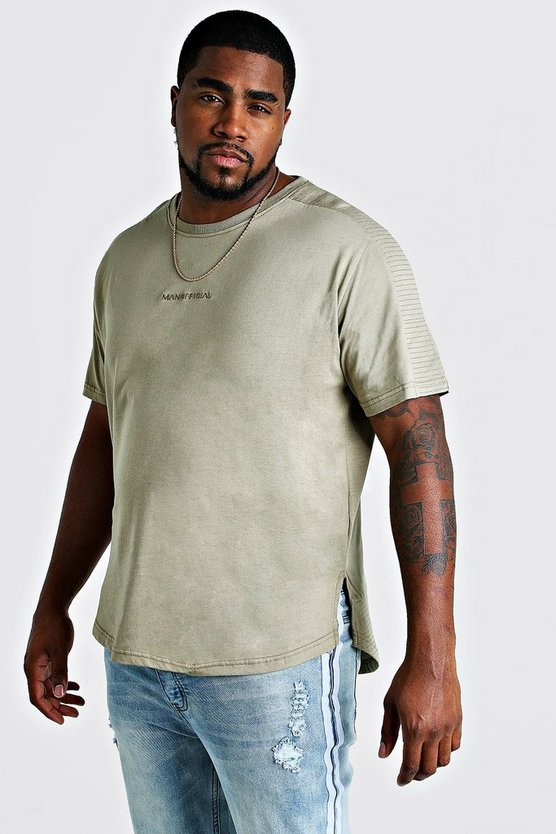 Mens Sage Big & Tall Biker Detail T-Shirt