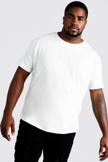 Mens Ecru Big & Tall Biker Detail T-Shirt