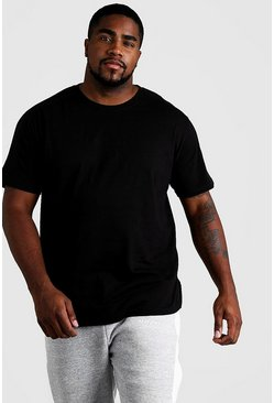 Big & Tall T-Shirt mit Biker-Detail, Schwarz, Herren