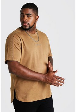 Mens Brown Big & Tall Biker Detail T-Shirt