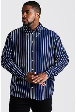 Mens Navy Big & Tall Long Sleeve Stripe Print Shirt