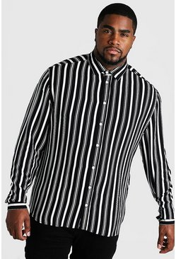 Mens Black Big & Tall Long Sleeve Stripe Print Shirt