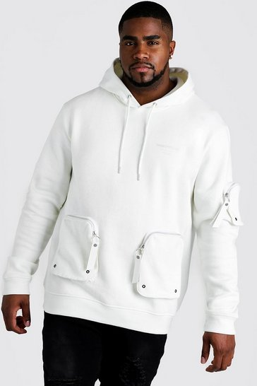 Mens Ecru Big & Tall MAN Official Pocket Hoodie