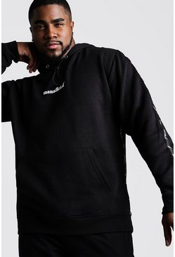 Herr Black Big & Tall MAN Official Tape Detail Hoodie