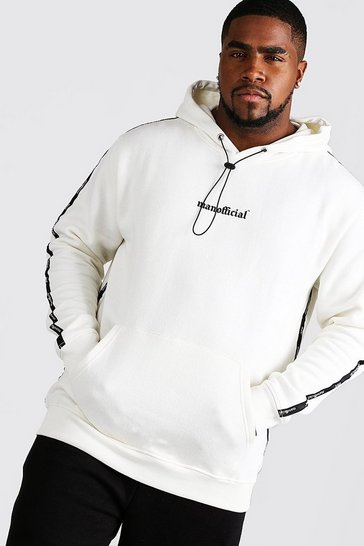 Mens Ecru Big & Tall MAN Official Tape Detail Hoodie