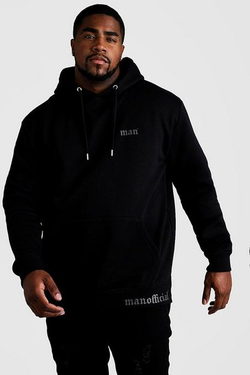 Mens Black Big & Tall MAN Official Split Hem Hoodie