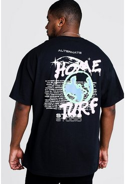 Black Big & Tall Home Turf Graffiti Print T-Shirt