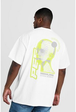 Mens White Big & Tall Program Error Back Print T-Shirt