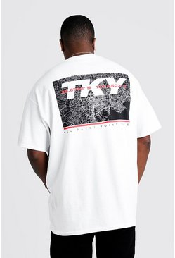 Mens White Big & Tall Back TKY Print T-Shirt