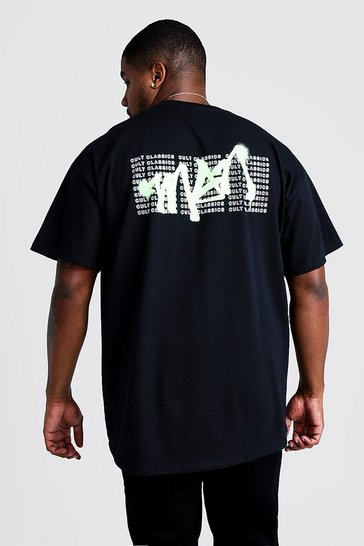 Mens Black Big & Tall MAN Graffiti Back Print T-Shirt