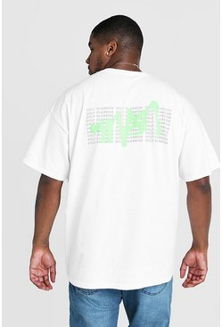 Mens White Big & Tall MAN Graffiti Back Print T-Shirt