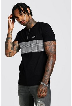Mens White MAN Muscle Fit Jacquard Zip T-Shirt