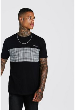 Mens Black MAN Signature Jaquard Panel T-Shirt