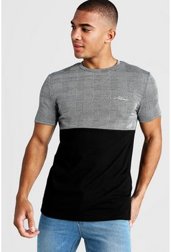 Mens Black MAN Muscle Fit Jacquard T-Shirt