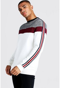 Mens Burgundy Jacquard Check Panel Sweat With Tape