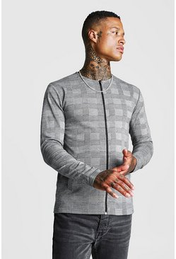 Grey Jacquard Check Colarless Jacket In Muscle Fit