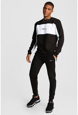 Mens Black MAN Signature Colour Block Sweater Tracksuit